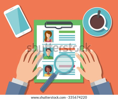 Human Resources Management Concept, Man analyzing personnel resume - stock photo
