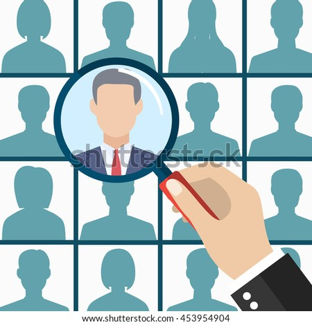 Human resources management select employee. Recruitment, concept of human resources management. CV application. Selecting staff. illustration in flat design Raster version - stock photo
