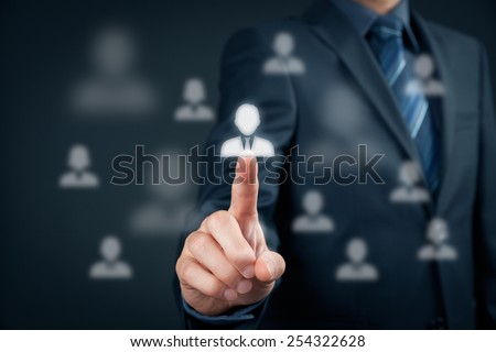 Human resources officer choose employee standing out of the crowd. Select team leader concept. Marketing customer targeting concept. - stock photo