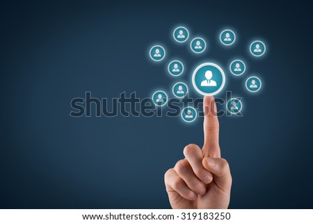 Human resources officer choose employee standing out of the crowd. Select team leader concept. Male hand click on man icon. Negative space in left side, blue background. - stock photo