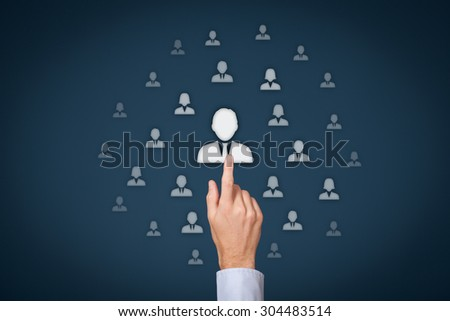 Human resources officer (HR) choose employee standing out of the crowd. Select team leader concept. Gender discrimination in employees selection. - stock photo