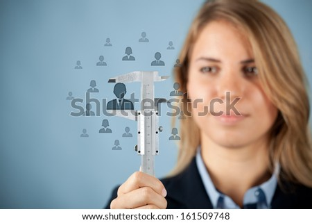 Human resources officer measure career growth, employee improving, merit for company or success of employee, concept.  - stock photo