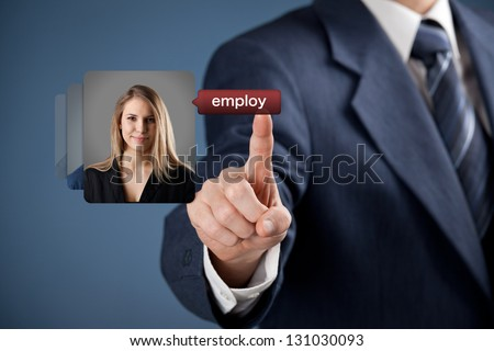 Human resources officer realize gender equality by choosing woman employee. Gender equality quotes concept.
