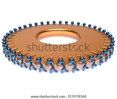 Human resources partnership teamwork workforce characters gearwheel team work business process men turning gear wheel golden cogwheel together. Assistance community concept 3d render isolated - stock photo