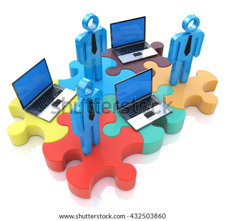 Human resources people connect and laptops on puzzle pieces in the design of information related to communication. 3d illustration - stock photo