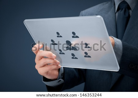 Human resources, personal audit, CRM, and assessment center concept - recruiter select employee (or team leader) represented by icon on futuristic tablet.