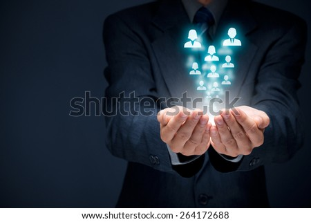 Human resources pool, customer care, care for employees, labor union, life insurance, employment agency and marketing segmentation concepts. - stock photo