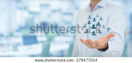 Human resources pool, customer care, care for employees, labor union, life insurance, employment agency and marketing segmentation concepts. Wide banner composition, office in background. - stock photo