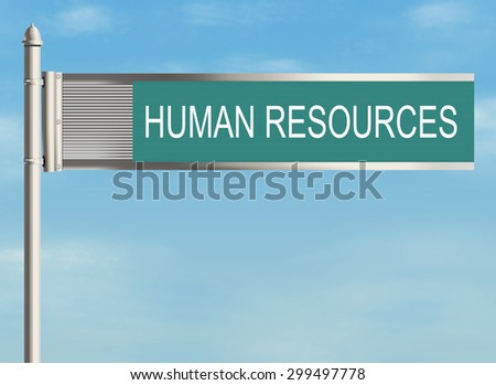 Human resources. Road sign on the sky background. Raster illustration.