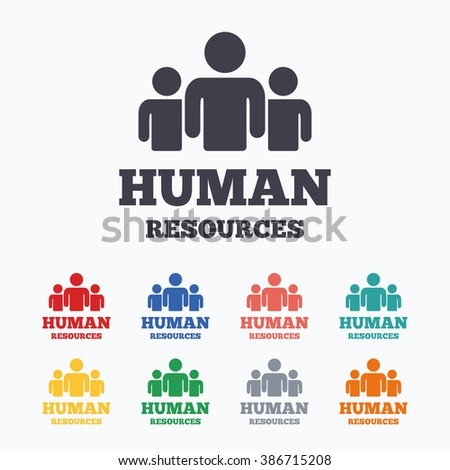 Human resources sign icon. HR symbol. Workforce of business organization. Group of people. Colored flat icons on white background. - stock photo