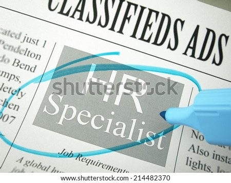 Human Resources Specialist (Classified Ads)    - stock photo