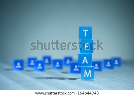 Human resources, team composition, team configuration, teamwork, cooperation and team building concepts.