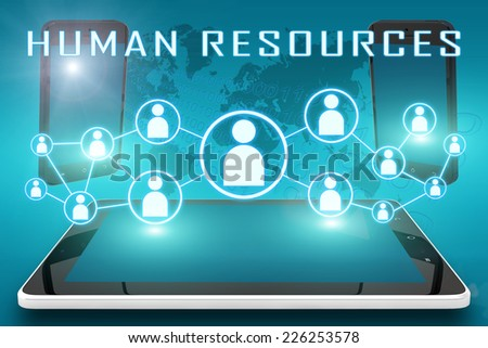 Human Resources - text illustration with social icons and tablet computer and mobile cellphones on cyan digital world map background - stock photo