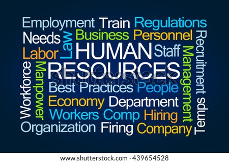 Human Resources Word Cloud on Blue Background - stock photo