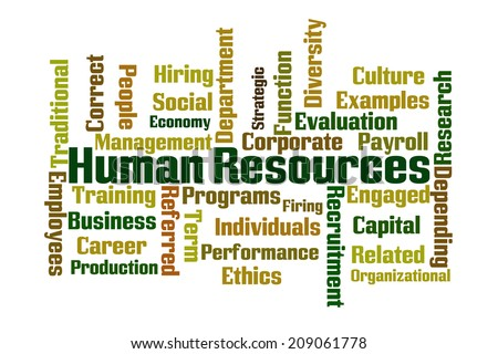 Human Resources Word Cloud on White Background - stock photo