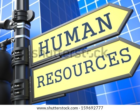 Human Resources Words on Yellow Roadsign on Blue Urban Background. Business Concept. 3D Render.