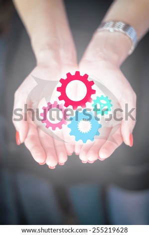 Human resources work as a team mechanism - stock photo