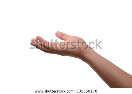 Human right hand lift up invisible thing on white background.