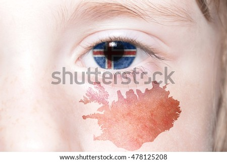 human's eye with national flag and map of iceland. concept