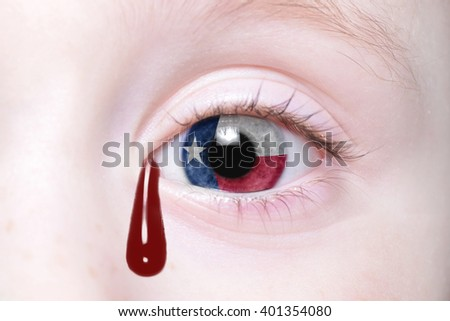 human's eye with Texas state flag with bloody tears. concept - stock photo
