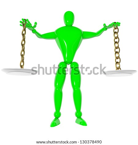 Human scale balance rendered 3d - stock photo