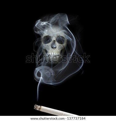 human scull appears in cigarette smoke - stock photo