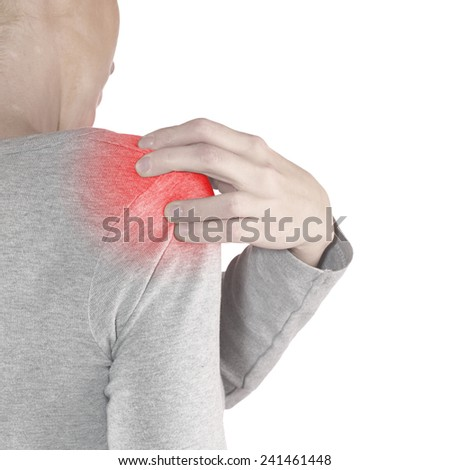 Human shoulder pain with an anatomy injury caused by sports accident or arthritis as a skeletal joint problem medical health care concept.