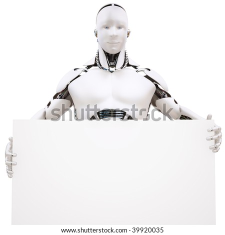 Human similar robot holding the edge of a blank sign - stock photo