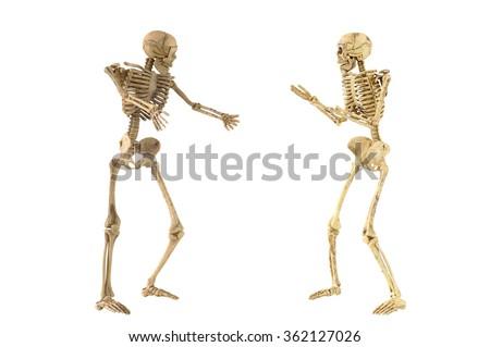 Human Skeleton Bones Standing Action Conversation Stock Photo