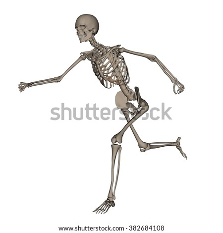 Human skeleton running- 3D render - stock photo