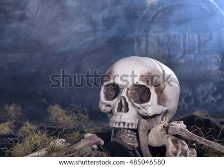 Human skull and bones in a graveyard