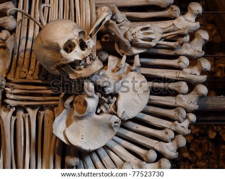 Human skull and bones  in the bone chapel in Kutna Hora, Czech Republic - stock photo