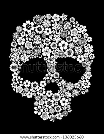Human skull in floral style for ecology concept design. Vector version also available in gallery - stock photo