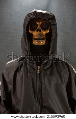 Human skull on a black background. Halloween day or Ghost festival, Ghost on suit.
