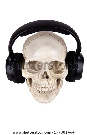 Human skull with earphones isolated on white background