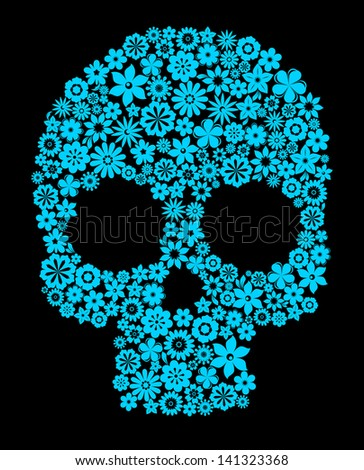 Human skull with flower elements for religion or halloween design. Vector version also available in gallery - stock photo
