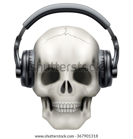 Human Skull with headphones.  Illustration on isolated white background.