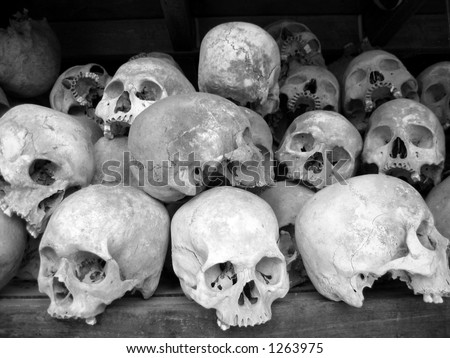 Human skulls in B/W - stock photo