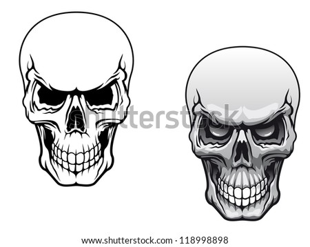 Human skulls in color and monochrome versions for tattoo design. Vector version also available in gallery - stock photo