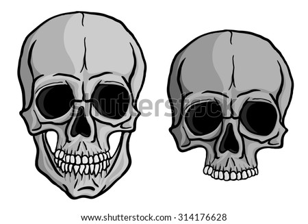 Human skulls set isolated on white background. Freehand drawing. Raster version of the illustration. - stock photo