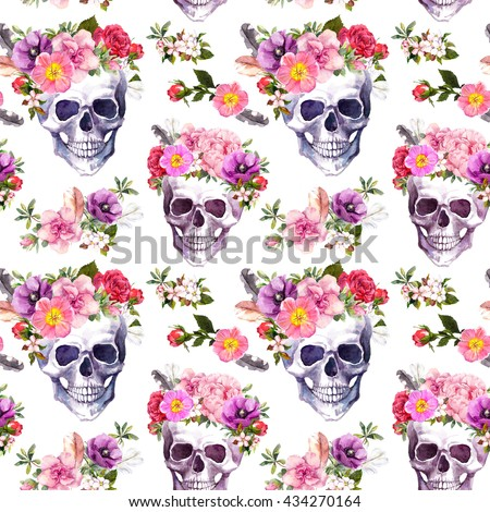 Human skulls with flowers. Seamless pattern. Watercolor - stock photo