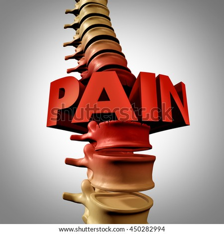 Human spine pain text and spinal fracture or traumatic vertebral injury medical concept as an anatomy spinal column with a painful vertebra due to compression and osteoporosis as a 3D illustration.