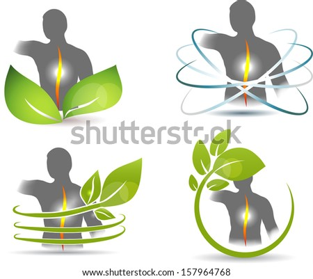 Human spine, vertebral column health care design. Leafs and human back illustration. Isolated on a white background. - stock photo