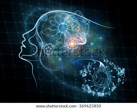 Human Tangents series. Composition of human lines and graphic elements with metaphorical relationship to Math, Nature, Universe and human existence - stock photo