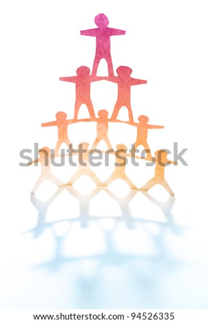 Human team pyramid - stock photo