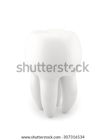 Human Tooth , isolated on white , 3d render - stock photo