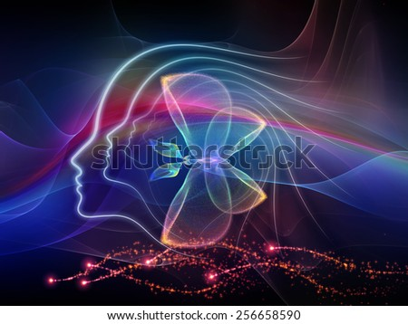 Human Vector series. Design made of human lines and abstract graphic elements to serve as backdrop for projects related to mind, human spirit, poetry, inspiration and philosophy - stock photo