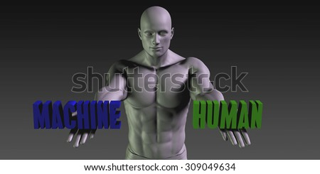 Human vs Machine Concept of Choosing Between the Two Choices - stock photo