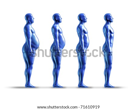 Human weight loss chart symbol represented by an obese human gradualy losing fat resulting in a healthy fit man - stock photo