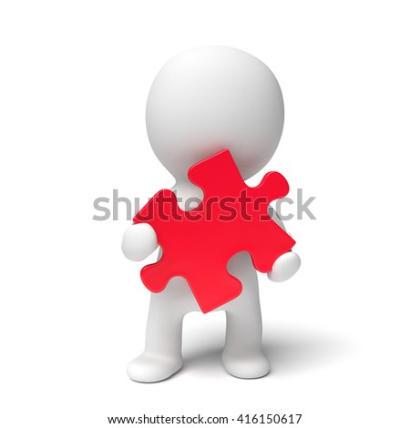 human white 3d person holding a red puzzle piece (3D illustration isolated on a white background)